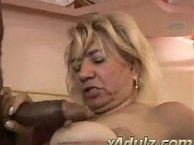 Fat Blonde Granny Doing Crochet Gets her Horny and Fucks Black Cock   -bbc-black cock-blonde-fat-horny-huge cock-