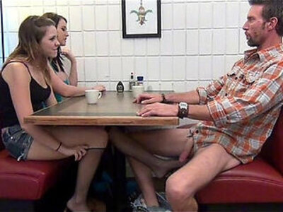 Daughter gives Footjob and BJ to Dad Under the Table | -daddy-daughter-father-footjob-table-
