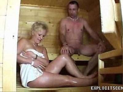 Milf sucking and fucking in the sauna ends with creampie | -creampie-exhibitionist-milf-sucking-