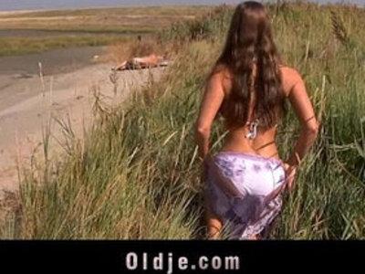 Big boobs fucking oldman on the beach | -beach-big boobs-cum in mouth-old man-