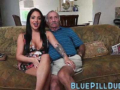 Stunning Latina gives grandpa a great blowjob   -blowjob-grandpa-latin-stunning-
