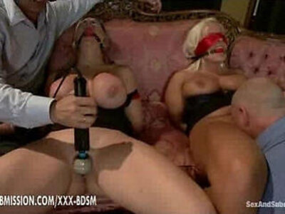 Two gentlemens dominate the two bondage girls | -bondage-domination-girl-huge tits-