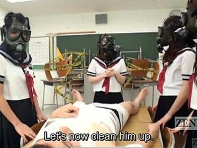CFNM Gas Mask Japanese schoolgirls inspection Subtitled | -cfnm-japanese-school girl-weird-