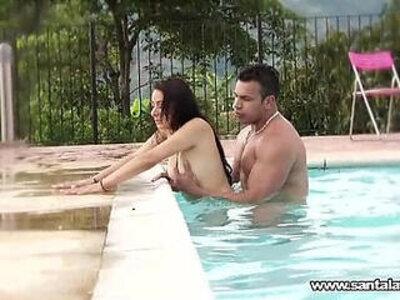 Fucking like romantics in the pool   -latin-pool-