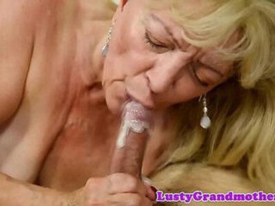 Saggy grandma receives cum in mouth | -cum in mouth-grandma-