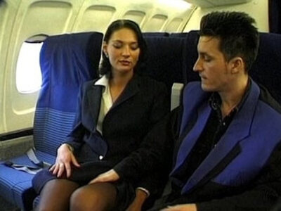 Brunette beauty wearing stewardess uniform gets fucked on a plane | -beauty-brunette-uniform-