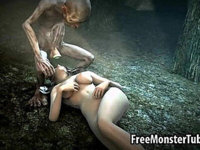 Foxy babe gets fucked in the woods by Gollum | -3d-babe-bizarre-