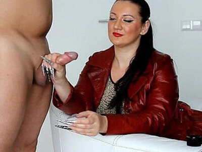 kinkydomina red leather jacket handjob tease | -handjob-leather-teasing-