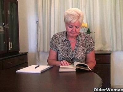 Highly sexed grandma Sandie rubs her pierced clit | -clit-grandma-mother-piercing-