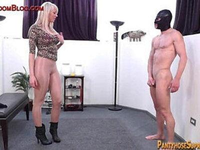 Blonde femdom amazon dominates in pantyhose | -blonde-femdom-pantyhose-woman-