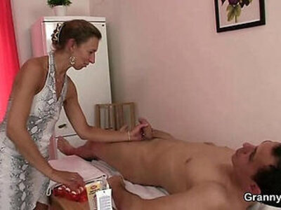 Granny masseuse jumps on his cock | -cock-granny-massage-mother-