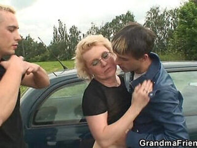 Two dudes pick up old bitch and screw her hard | -bitch-dude-grandma-older-pickup-