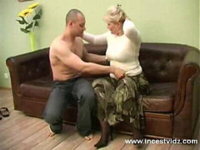 blonde mom and her young guy on sofa | -blonde-gay-sofa-son-young-
