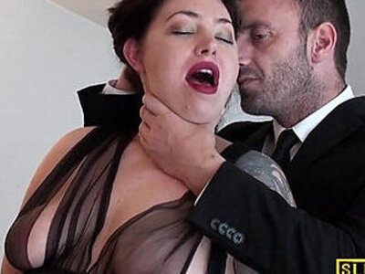 English slut gets chocked   -cum swallow-sluts-