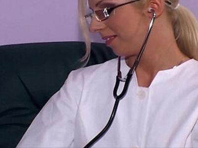 Blonde milf nurse fucking in white thigh high heels | -blonde-high heels-nurse-stockings-white chick-