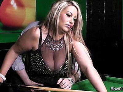 Stranger bangs lovely BBW in nylons on the pool table | -banged-bbw-grandma-lovely-nylons-pool-