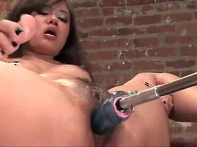Annie Cruz masturbating while fucked by a machine and squirts | -masturbation-sex machine-