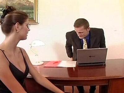 Nerdy secretary sex in thigh high stockings | -milf-nerd-secretary-stockings-