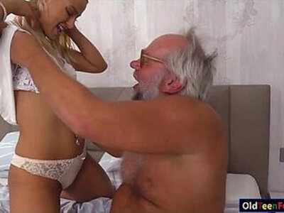 Chary kiss finger grandpas ass while jerking him off for cum | -ass-cum-fingering-grandpa-jerking-kissing-