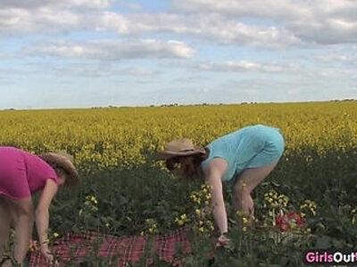 Natural lesbian teen girls on a canola field | -babe-lesbian-natural-