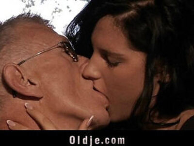 Horny old man bangs cute brunette babe | -banged-brunette-cute-horny-old man-