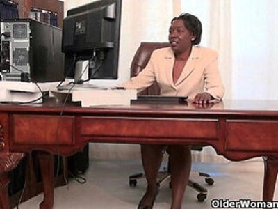Office grannies Amanda and Penny strip off and play | -granny-office-striptease-