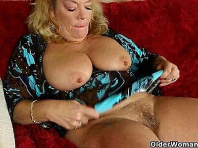 Office granny in pantyhose gives her old pussy a treat | -office-older-pantyhose-pussy-