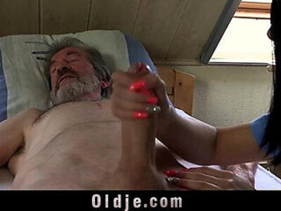 Sexual young care for a poor old man | -old man-pain-young-