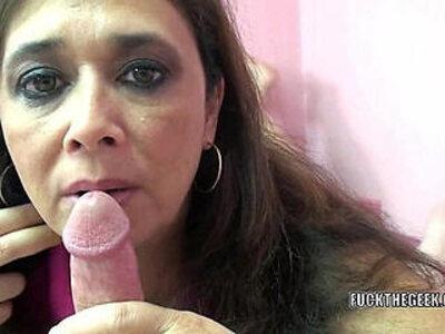 Curvy MILF Alesia Pleasure licks balls and sucks dick | -balls-curvy-dick-monster cock-pleasure-