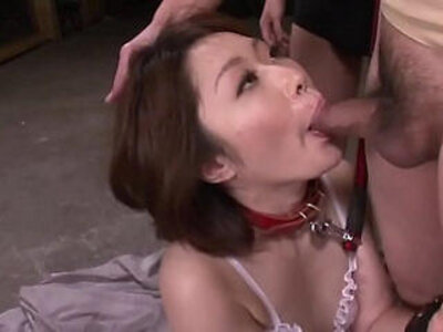 Mature asian blows three studs in a foursome on her knees   -4some-asian-mature-mommy-students-