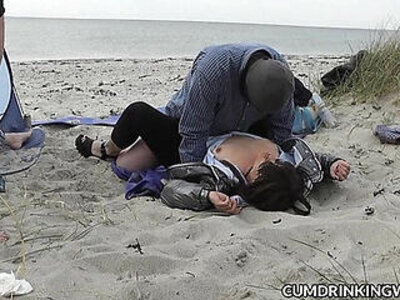 Slutwife fucked and creampied by strangers on the beach   -beach-creampie-swingers-