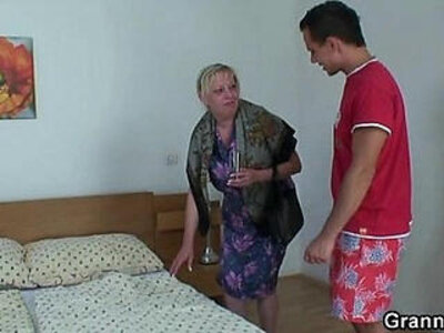 Moaning granny rides his young rod   -granny-moaning-young-