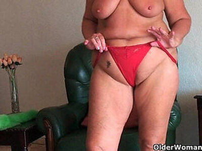 Chubby with saggy big tits and plump ass spreads pussy | -ass-big tits-chubby-grandma-plump-pussy-