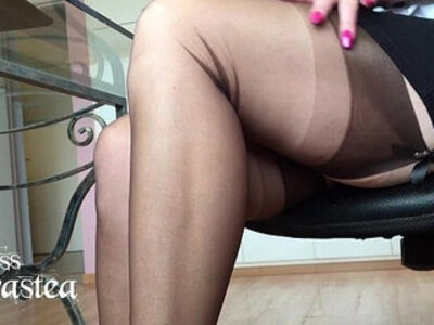Miss adrastea nylonfeet under the table | -table-