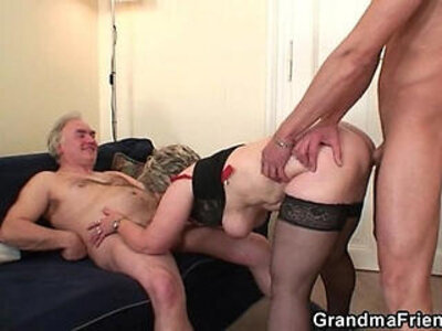 Cock hungry granny enjoys two dicks   -cock-dick-enjoying-grandma-granny-hungry-