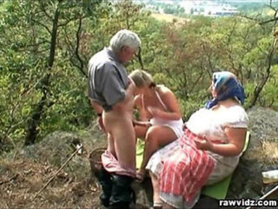 Voyeuristic Blonde girl With Old Couple | -blonde-couple-older-public-voyeur-