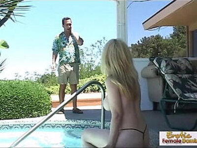 Cougar fucked on the job by the pool   -agent-cougar-pool-