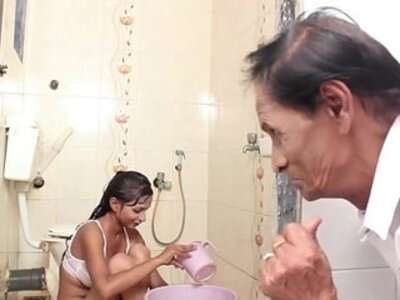 Hot Baby Bathing and sex with Father in law | -babe-bathroom-father-old man-stepdad-