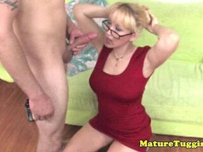 HJ loving blonde granny tugging hard cock   -blonde-cock-glasses-
