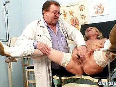 Blond granny pussy and vagina checkup | -blonde-granny-pussy-vagina-