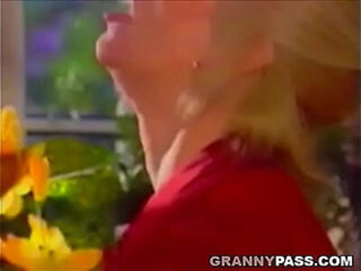 Blonde Gets Pounded On The Table | -blonde-grandma-older woman-pounding-table-