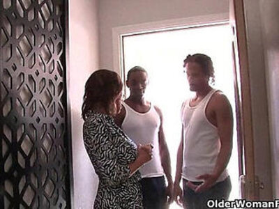 Cuckold hubby watches his wife fucking two black cocks   -black cock-cuckold-hubby-wife-woman-