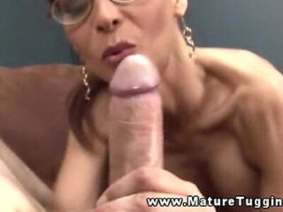 Busty mature in spex tugging cock and cant get enough   -busty-cock-glasses-
